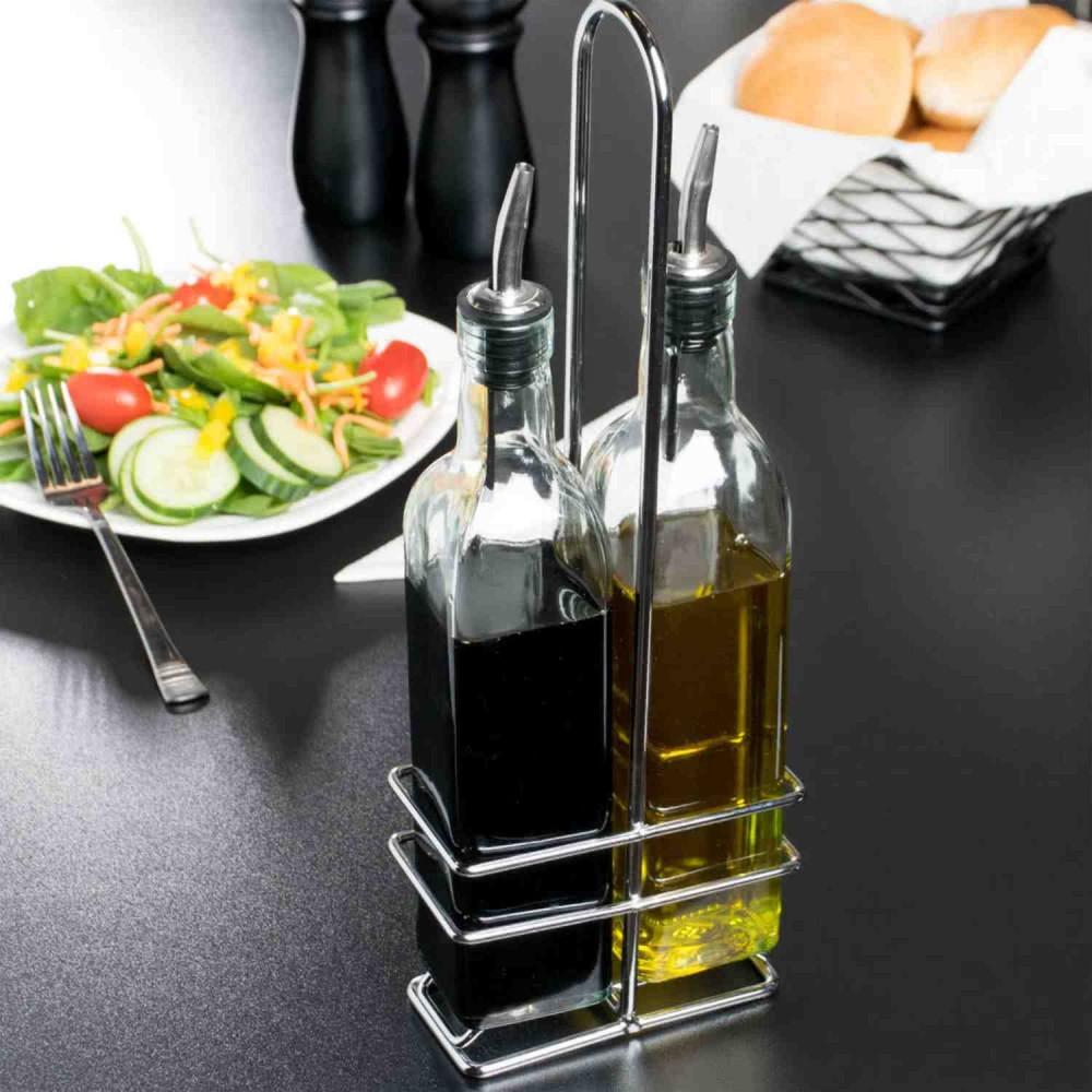 Recipiente Vidrio Aceite o Vinagre Soporte Con 2 Botellas 8oz