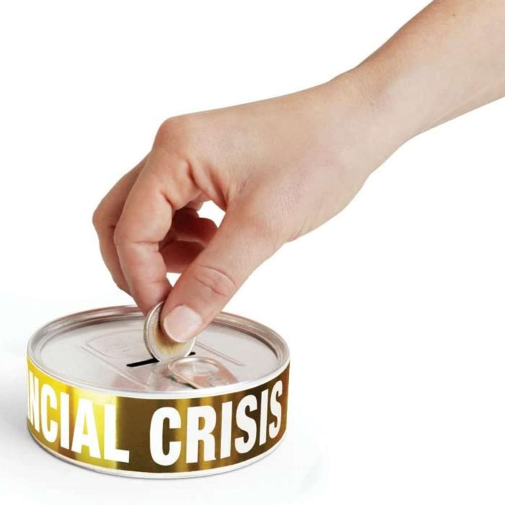 Alcancía Lata Crisis Financiera
